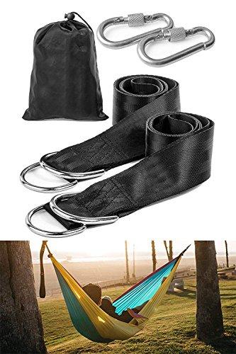 Swing Hanging Gurt Kit, Aufhängeset mit 2 Stück Premium Karabiner, Hängematte Hängesessel Befestigungsset für Schaukel Hängematten/Garten/Camping Reise (150cm*50cm, Belastbarkeit:800kg)
