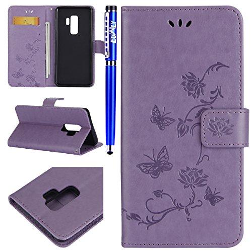 EUWLY Kompatibel mit Samsung Galaxy S9 Plus Schutzhülle Lederhülle Klapphülle Handytasche Schmetterling Blumen Muster Flip Case Handyhülle Klappbar Leder Wallet Tasche,Lila