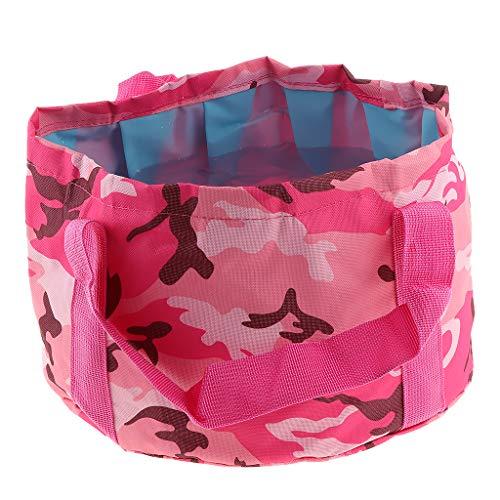 P Prettyia Wasserdicht Fuß-Badewanne, faltbar, tragbar, Klappbar großes Waschbecken für Fußmassage Fuß Wachs - Rose Rot (Tragbare Hand-waschbecken)