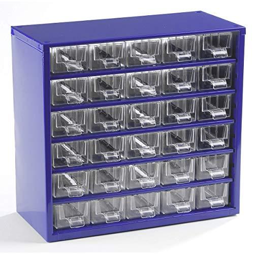 Certeo Schubladenmagazin aus Stahl | HxBxT - 282 x 306 x 155 mm | 30 transparente Schubladen | Gehäuse ultramarinblau | Kleinteilemagazin Klarsichtmagazin