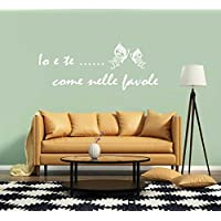 Adesivo Murale Io e Te ... come nelle favole Canzone Vasco Rossi (120x50 cm.) per decorazione casa Adesivo4You