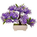 Dekorative Blumen Simulation künstliche Blumen Künstliche Pflanze Blume Baum Grün Topf Wohnzimmer Tisch Dekoration Lucky Feng Shui deko (3 Farbe), Purple