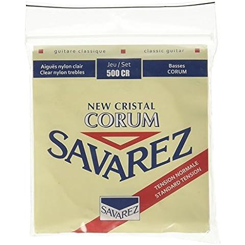 Savarez 656137 - Cuerdas para Guitarra Clásica New Cristal Corum juego 500CR Tensión estandard, rojo