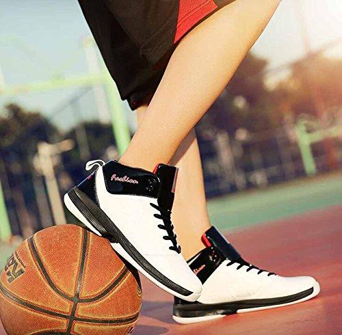 Baskets Respirantes De Basket-ball Pour Hommes Automne Hiver Sur Les Chaussures De Sport Haut Formateurs Blanc