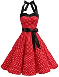 Dresstells Halter 50s Rockabilly Polka Dots Dots Dress Petticoat Pleated Skirt Black Red Dot S