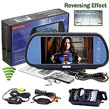 BW TFT LCD 7INCHAVHS+wireless E350 Monitor Touch Specchietto Retrovisore 17,78 cm per Auto, Telecamera Impermeabile Visione Notturna con Sistema di Parcheggio