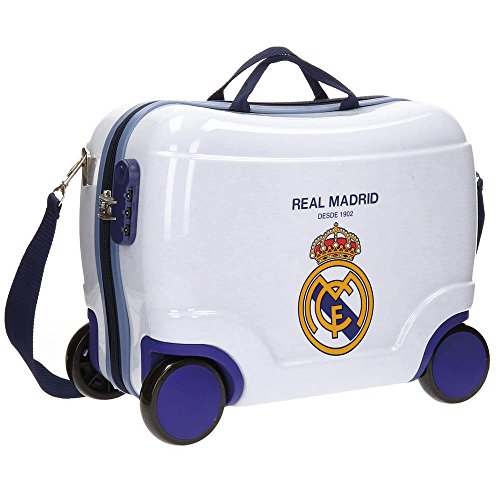 Real Madrid Classic Equipaje Infantil, 41 cm, 25 litros, Blanco