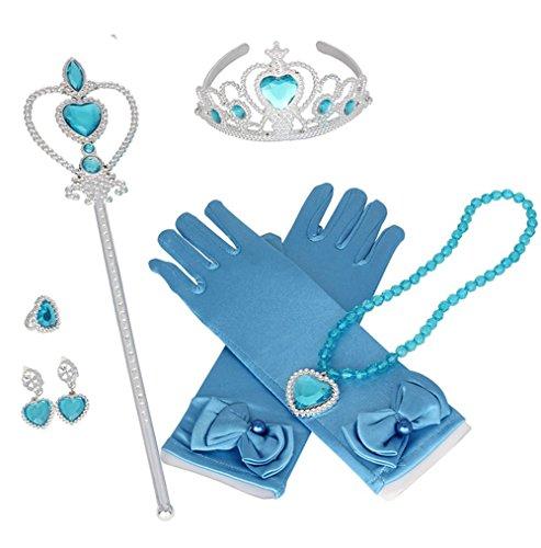 Prinzessin Dress-up Party Zubehör mit Krone Wand Handschuhe Halskette Ohrringe Ring Set,Mädchen Geschenk-Set Prinzessin Karneval Verkleidung Party Cosplay Mädchen Handschuhe Hallowe (Billig Disney-kostüme Kostüme Für Erwachsene)