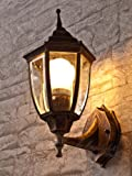 Edle Wand- Aussenleuchte in antik E27 230V up aus Aluguss Außenlampe Wandleuchte Beleuchtung für Hof Garten Aussen