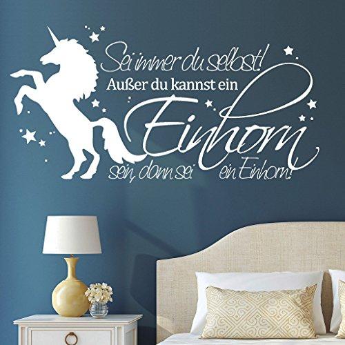 """Wandtattoo Loft Schriftzug """"Sei immer du selbst! Außer du kannst ein Einhorn sein, dann sei ein Einhorn"""" mit Einhorn / 54 Farben / 2 Größen / weiß / 45 cm Höhe x 88 cm Breite"""