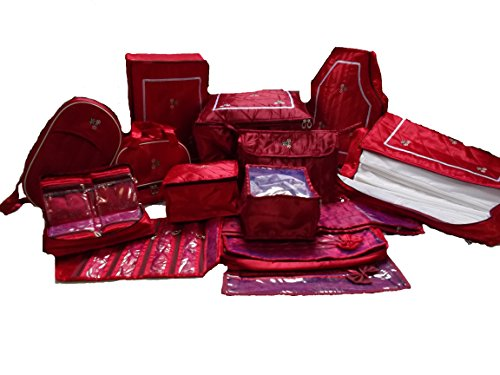 Glitter Collection (TM) Wedding Gift, 14 pcs women cloth organiser Saree Cover, jwellery,payal, Vanity, UG,blouse,petticote cover and 12 saree bag, snpl