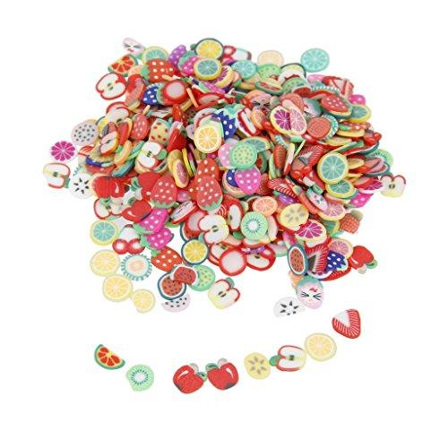 1000pcs Fruits Assortis Nail Art 3D Décorations en Pâte Polymère Fimo