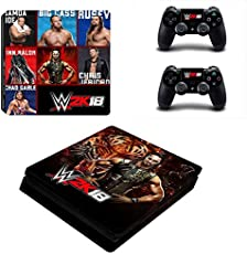 Hytech Plus WWE 2k18 Theme Sticker for PS4 Slim Console and 2 Controllers (Black)