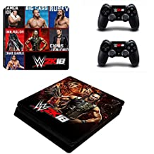 Hytech Plus WWE 2k18 Theme Sticker For PS4 Slim Console & 2 Controllers