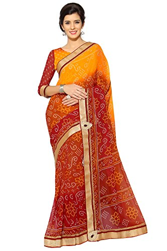 Damen Indian Beautiful Sari mit Ungesteckt Oberteil/Top Mirchi Fashion Bollywood saree (Bollywood Sari)