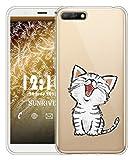 Sunrive Für Huawei Y5 2018/Honor 7S Hülle Silikon, Transparent Handyhülle Schutzhülle Etui Case für Huawei Y5 2018/Honor 7S(TPU Katze 2)+Gratis Universal Eingabestift