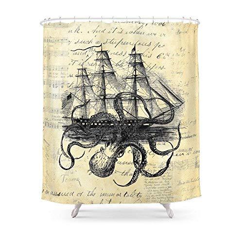 Suminla-Home Badezimmer Kraken Oktopus Attacking Schiff Multi Collage Hintergrund Duschvorhang 182,9cm von 182,9cm - Duschvorhang Rüschen Mit Grau