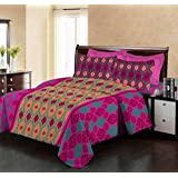 Bombay Dyeing Premium Cotton Double Bedsheet With 2 Pillow Covers TC 140 Packed in a Gift Box(Pink)