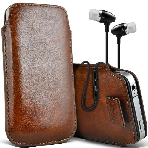 ( Baby Blue ) Apple iPhone 4 Protection simili cuir Pull Tab armoires Pochettes élégant Housse Etui En Fone-Case Tirette Brown + écouteur