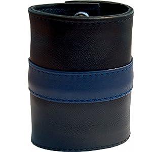 MISTER B El señor B. 411 314 - Bolso de Cuero con Correa con Rayas Azules - Gr. L - 8.5 cm de Ancho - 23,5 cm de Largo, Negro