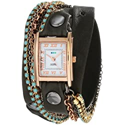 La Mer Collections Damen LMMULTI3006 Rose Gold Case White Dial Turquoise Swarovski Crystal Multi-Colored Plated Jewelry Chains Armbanduhr