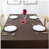 Braunes Leinen Tischdecke, 130X180CM für Home Hotel Café Restaurant, Hitze und Feuchtigkeitsresistent