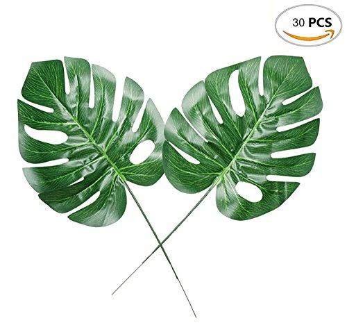 (Souarts 30 Stücke Deko Blätter Kunstlich Tropische Palme Blätter Tisch Mats Monstera Blatt Foto Requisiten Palme Blätter für Party Haus deko Cafeteria Tischdekoration)