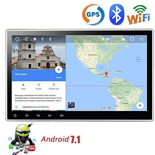 EINCAR Android 7.1 Quad-Core-Car Stereo 10,1 Zoll Touch-Screen Double 2 Din GPS Navigation Autoradio-Entertainment-System-Unterstützung Dual-Zone WiFi Bluetooth AM/FM Radio OBD2 mit verstellbar (Zone Autoradio Dual)