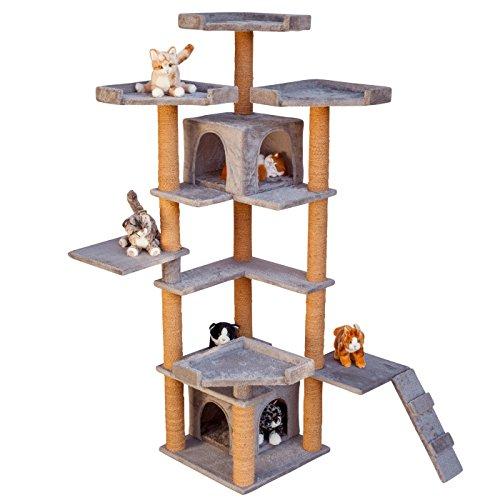VOSS.PET Kratzbaum - Hochwertiger Katzenkratzbaum Karate Cat 2 großen Katzenhöhlen und Robustem Kokosseil, Höhe: 174,5 cm, Farbe wählbar - der Kletterbaum für Ihren Liebling