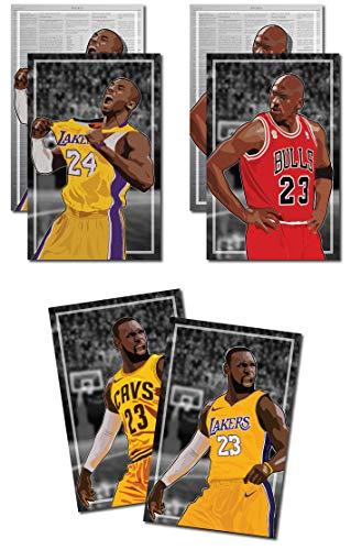 Oakley Graphics 3 Poster von NBA G.O.A.T. Kunstdrucke Michael Jordan, Kobe Bryant, Lebron James - Kaufen Sie 1 erhalten 2 Gratis, 3 Gesamtdrucke (2-seitig), großes Set - 43,2 x 55,9 cm