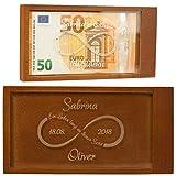 Geschenke 24 Magische Geldgeschenkebox mit Unendlichkeitszeichen (weiße Swarovski-Kristalle) – originelle Geschenkverpackung mit Namen und Datum graviert