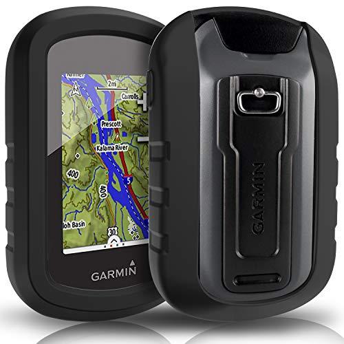 TUSITA hülle für Garmin eTrex Touch 25 35 35t - Silikon Schutzhülle Skin - Handheld GPS Navigator Zubehör (SCHWARZ) - Hand-held-gps-fall