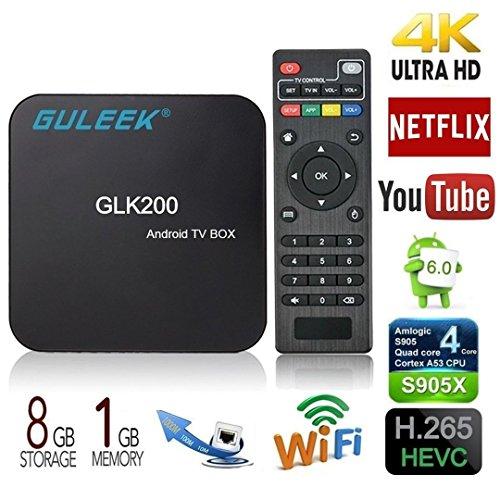Guleek GLK200 Android 6.0 TV Box con Amlogic S905x Quad Core WIFI 4K HD Reproductor Android 6.0 Mini PC para video y juegos