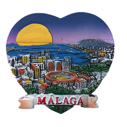 Malaga Spain Europe World City resin 3d strong magnet for fridge souvenir tourist gift Chinese magnet handmade creative home and kitchen magnetic decoration