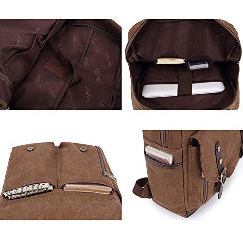 YAAGLE Neu Retrotasche Canvas Rucksack Gepäck Freizeit Laptoptasche Reisetasche Schultasche Schultertasche-armee-grün schwarz