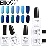 Elite99 12pcs Kit de Esmalte de Uñas de Gel UV LED Serie de Azul Color Semipermanente Base Coat Top Coat Manicura y Pedicura