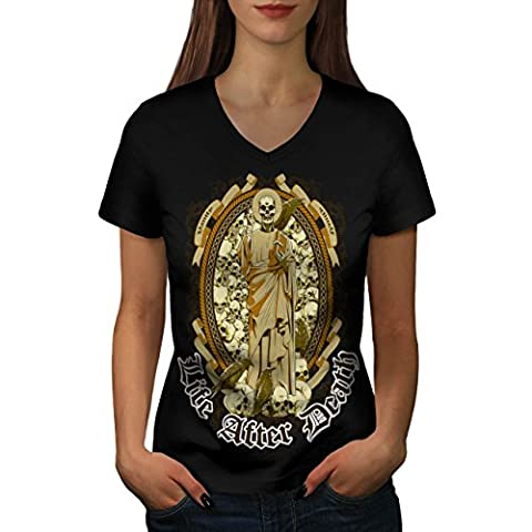 Life After Death Vanity Skull Women Black S V-Neck T-shirt | Wellcoda