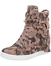 Ital-Design Sneakers High Damenschuhe Keilabsatz/Wedge Keilabsatz Reißverschluss Freizeitschuhe
