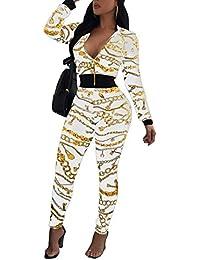 Akmipoem da Donna Due Pezzi Stampa Digitale Pullover Felpe e Pantaloni da  Tuta e9fe2e4b782