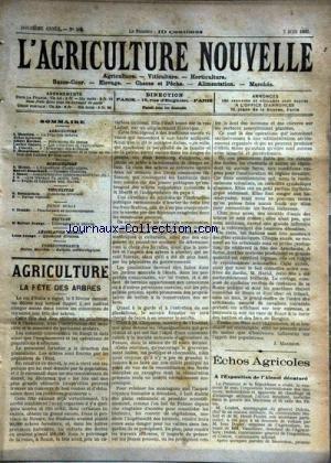 AGRICULTURE NOUVELLE (L') [No 581] du 07/06/1902 - AGRICULTURE PAR MAURION - BERTHOT - CORNET - VIMEUX ET BENARDEAU - HORTICULTURE PAR MOTTET - BLANCHARD ET NANOT - VITICULTURE PAR BATTANCHON - FAUCHEUSES ET MOISSONNEUSES PAR TROUDE - L'ELEVAGE DE LA CHEVRE PAR GEORGE