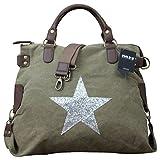 Shopper Damen Handtasche mit Stern Canvas Tasche mit Stern Blogger mit Stern Schultertasche Canvas Vintage , Farbe:Olive Stern Silber