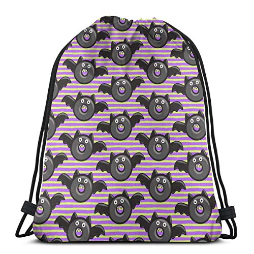 n Donuts On Purple and Green S Lightweight Drawstring Bag Sport Gym Sack Bag Backpack 17 X 14 Inch ()