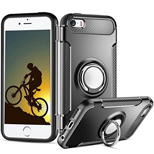Cover iPhone 5S, Coolden Dual Layer Cover Protettiva iPhone 5S Grip Ring Kickstand Cover Shock-Absorption Soft TPU Bumper Anti-Scratch Protezione Cover Custodia Case per iPhone 5/5S/SE - Oro Rosa Nero