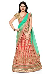 NAAIDAAKHO PEACH AND LIGHT GREEN COLOR LEHENGA CHOLI