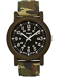 Timex Original Unisex Quartz Watch with Black Dial Analogue Display and Green Nylon Strap T2P292PF