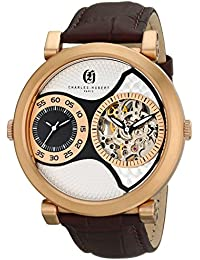 Charles-Hubert, Paris Men's 3966-RG Premium Collection Analog Display Mechanical Hand Wind Brown Watch