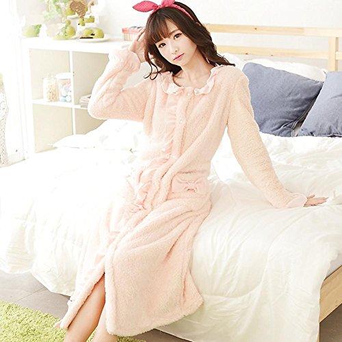DMMSS Mesdames Nightgown Chemise De Nuit Pyjama Chaud Molleton À Manches Longues En Automne Et Des Vêtements D'Hiver Robe Pink