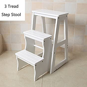 Wood Folding Step Stool For Adults Kids Kitchen Small