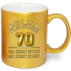 Gold Metallic Effekt Tasse zum Geburtstag * Knackige 70 * Alle Alterzahlen verfügbar