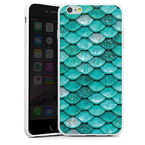 Apple iPhone SE Hülle Case Handyhülle Meerjungfrau Schuppen Mermaid Silikon Case weiß